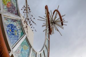 The Nucleus outdoor art exhibit at the PACE Center