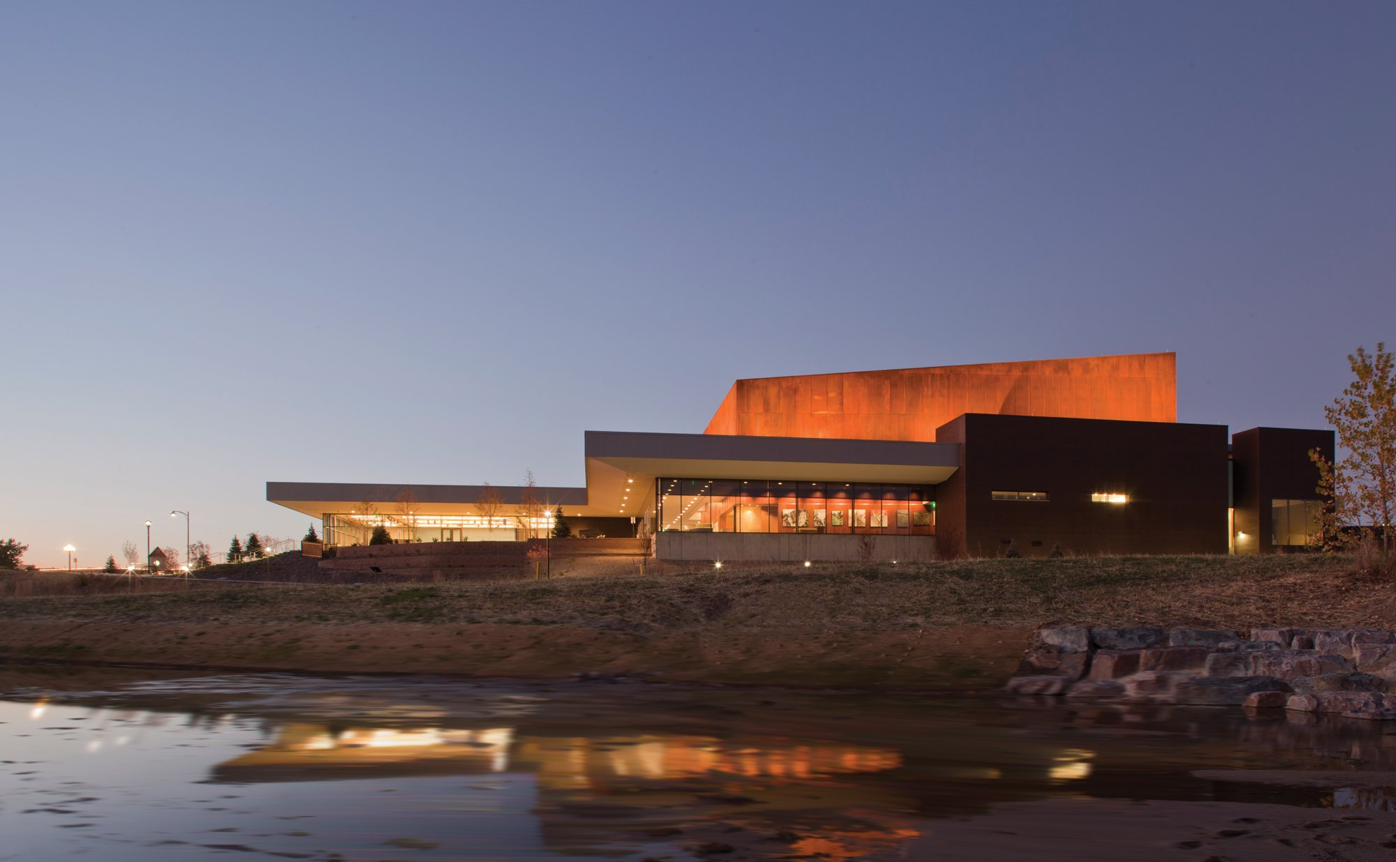 PACE Center exterior at night in Parker, CO.