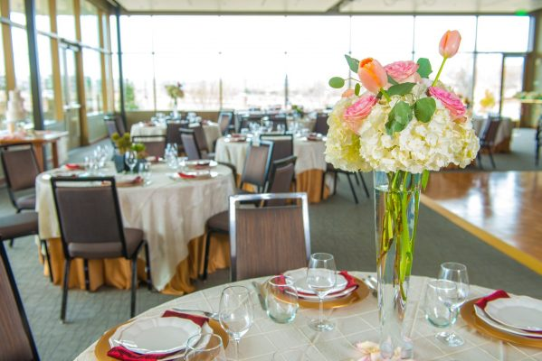 PACE Center Event Room decorated with banquet tables and flowers