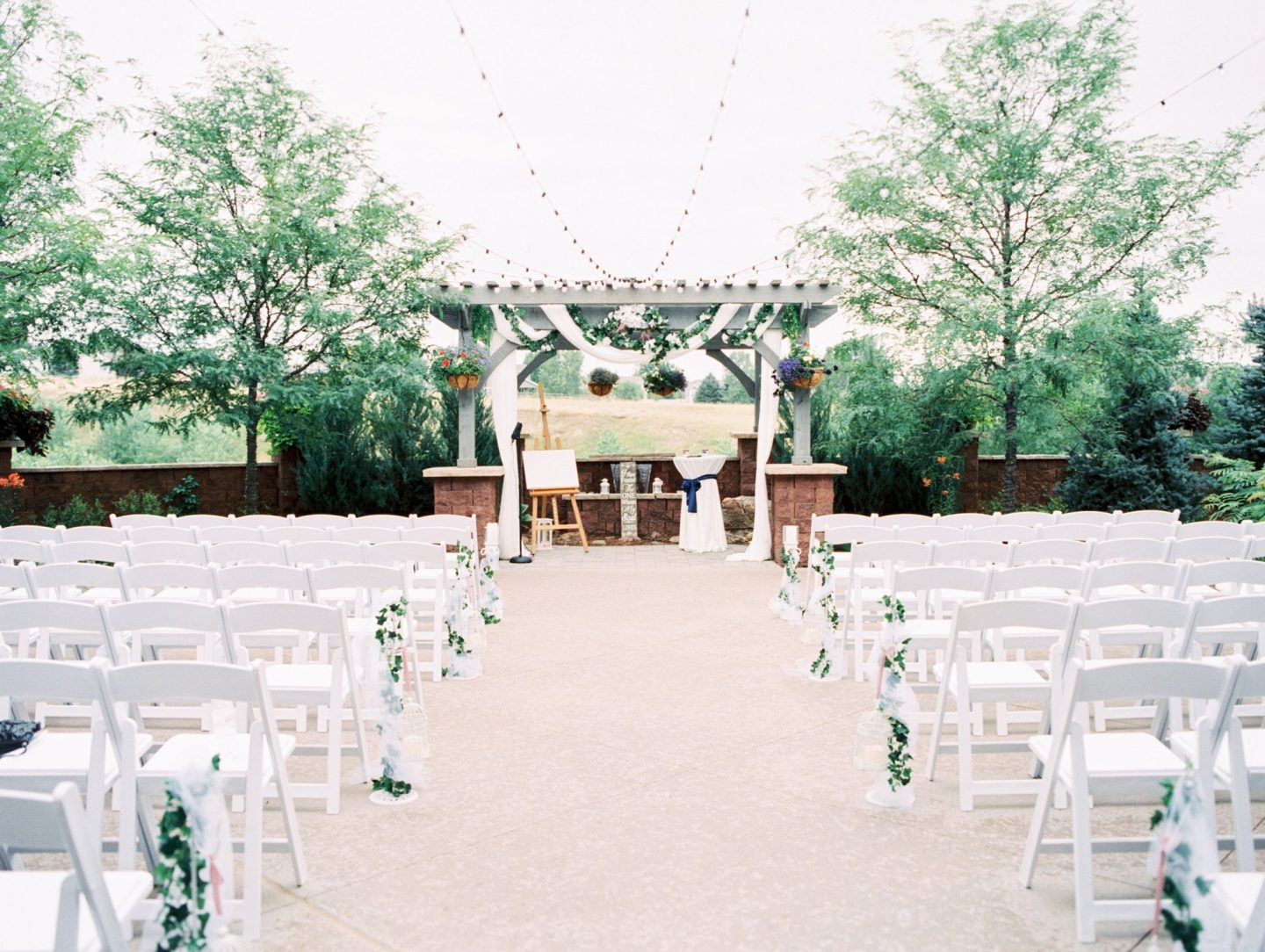 PACE Center Patio decorated for Wedding ceremony in Parker, CO.