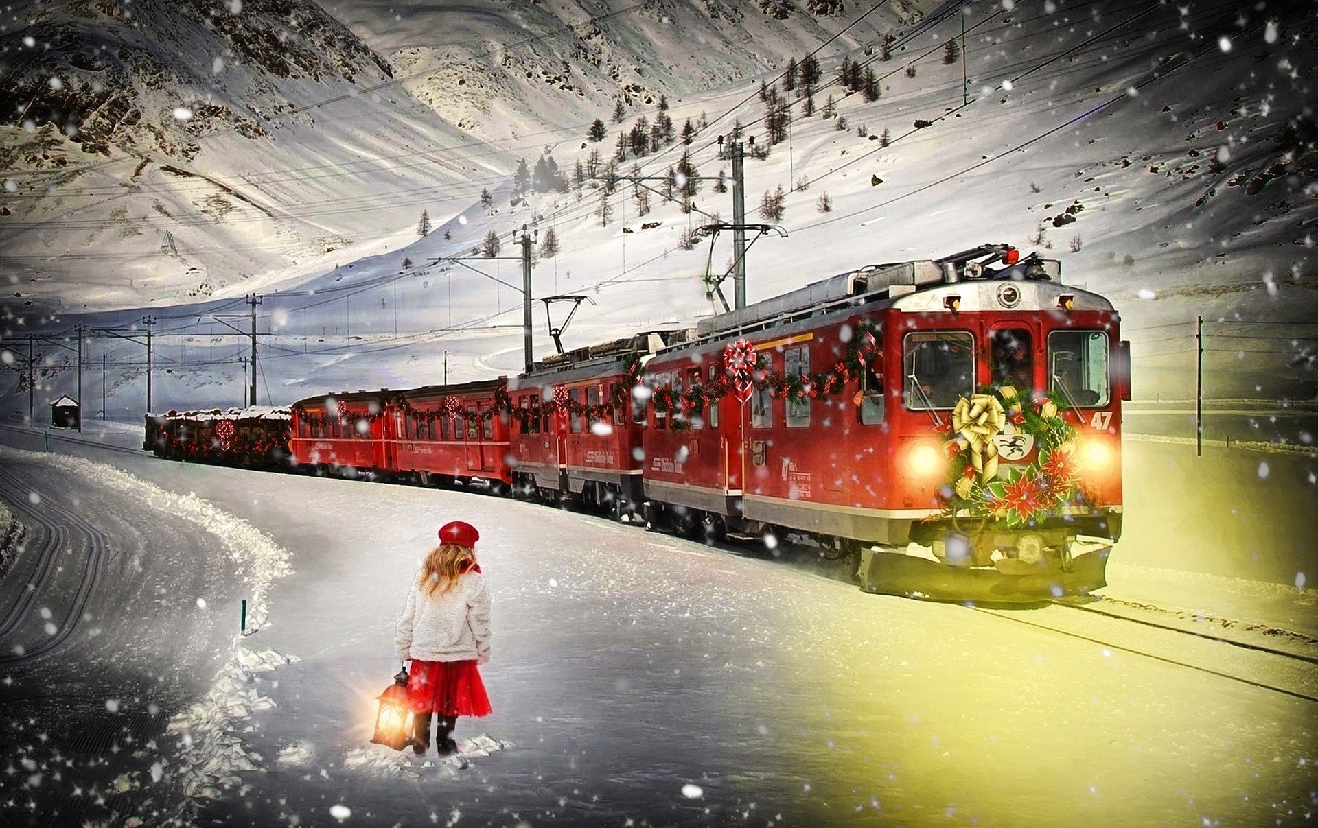 Polar Express train and child in snow