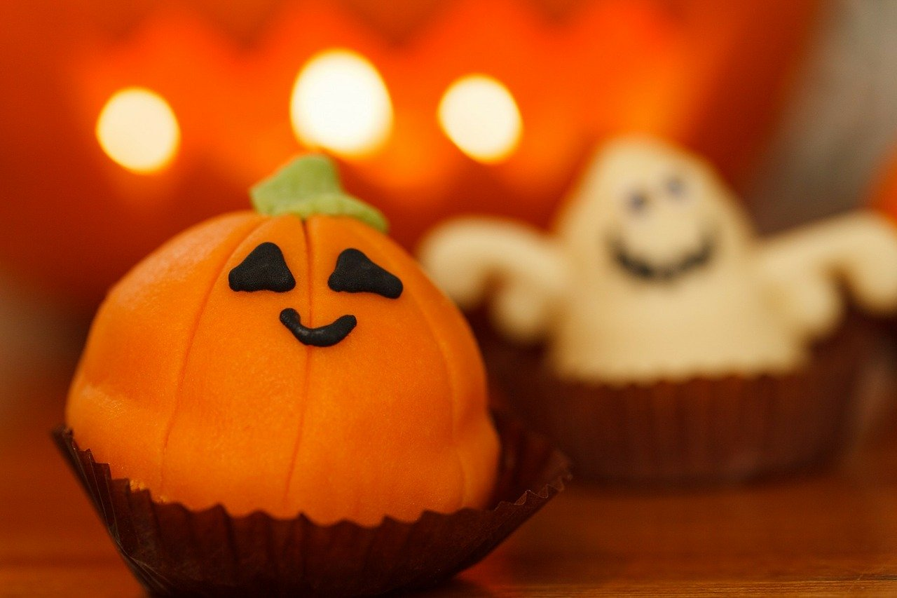 Cute pumpkin and ghost treats.
