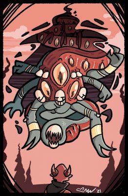 Akita's Worst Nightmare by Celia VanValkenburg, 8.5 x 13, Digital - Procreate